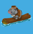 hippopotamus hunter swimming a river on a log vector image vector image