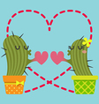 loving couple of cactus vector image vector image