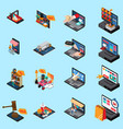 mobile shopping isometric icons vector image vector image
