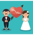 mr and mrs couple heart wedding design graphic vector image vector image