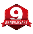 Nine year anniversary badge with red ribbon vector image