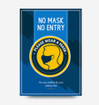 no mask no entry poster instruction round sign vector image vector image