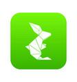 origami rabbit icon green vector image vector image