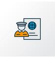 passport control icon colored line symbol premium vector image vector image