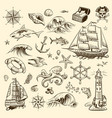 pirate adventure set sea navigation engraved old vector image