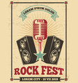 rock festival vintage poster and roll vector image
