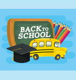 school bus with blackboard and pencils colors vector image