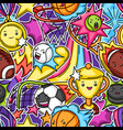 seamless pattern with kawaii sport items vector image vector image