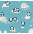 Seamless pattern with little cute penguins vector image vector image