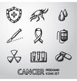 Set of freehand Cancer icons with - shield cell vector image