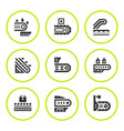 set round icons of conveyor vector image