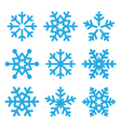 Snowflakes blue icons set vector image