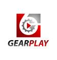 square inside number six gear media play logo vector image