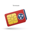 State of Tennessee phone sim card with flag vector image vector image