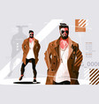 stylish guy in coat vector image