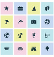 summer icons set collection of baggage lifesaver vector image vector image