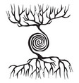 tree symbol with roots and a spiral vector image