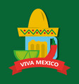 viva mexico tequila lemon and hat mexican chili vector image vector image
