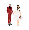 wedding couple holding hands in casual red suit vector image