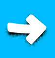 white arrow sign on blue background vector image vector image