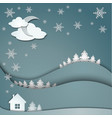 winter background of snowflakes trees house vector image