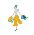 woman with shopping bags and presents vector image vector image