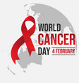 world awareness red ribbon of cancer with globe vector image vector image