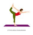 yogi woman in utthita ardha dhanurasana vector image vector image