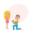young man proposing to pretty girl vector image vector image