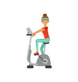 young woman character training on an exercise bike vector image