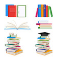 set of book stacked with glasses or mortar board vector image