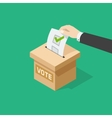 Voting man hand holding political ballot putting vector image