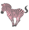 cute naturalistic zebra with pink stripes vector image