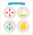 Flat Marine Website Icons Set vector image