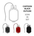 bag of bloodmedicine single icon in cartoon style vector image vector image