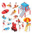 beach lifeguard isometric set vector image