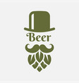 beer logo with man beard - beer hop and hat vector image