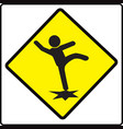 beware slip sign caution symbol vector image vector image