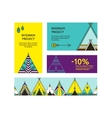 Business cards and promotional flyers with wigwams vector image vector image
