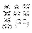 cartoon eyes set - sad angry cry isolated on vector image