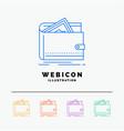 cash finance money personal purse 5 color line vector image vector image