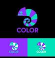 chameleon logo colored bright color art school vector image