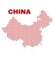 china map - mosaic of love hearts vector image vector image