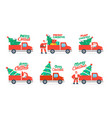 christmas truck and tree vector image vector image