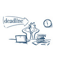 confused businessman holding head tired deadline vector image vector image