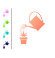 coral watering can sprays water drops above vector image vector image
