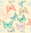 cute detailed butterflies seamless pattern vector image