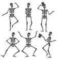 dancing skeletons different skeleton poses vector image vector image