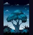 dark night in forest vector image vector image