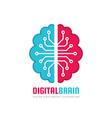 digital human brain - logo template concept vector image